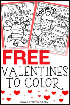 These FREE Valentines Day coloring pages are so cute and funny. Each page features Valentines clipart, a pun or funny s Kinder Valentines, Valentine Crafts For Kids, Valentines Day Activities, Valentines Day Party, Free Valentines Day Cards, Valentines Crafts For Kindergarten, Valentine Template, Printable Valentine, Valentine Wreath