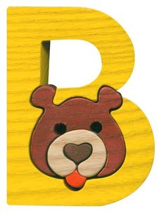 Montessori - Waldorf wooden puzzle letter B, made by hand of maple wood,no harmful colors and no lacquer