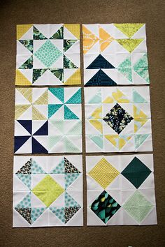 HST Block of the Month: 6 of the 12 finished blocks.  Maybe this is what I will make with my Flea Market Fancy bundle????