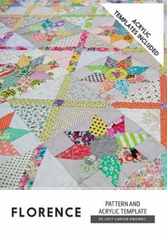 Florence by Lucy Carson Kingwell - Includes Templates #acrylic-template #australia #cutting-template #hand-piecing #intermediate #jen-kingwell-designs #lucy-carson-kingwell #lucy-kingwell #pattern #quilt #quilt-pattern #templates