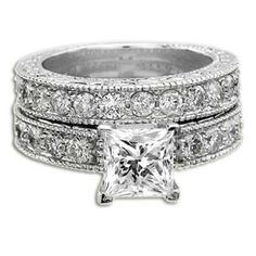 Princess Diamond Ring Set 2.30 ct D VS1 Certified 18K. That's what I want. I love mine but I love this