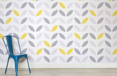 yellow-and-grey-abstract-flower-pattern-design-room