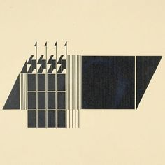 """Early type ornament experiment by #AlvinLustig. Probably from 1939 or so, when Lustig was a young printer. These geometrical illustrations were, as James Laughlin put it, """"non-representational construction[s] made from little pieces of type metal chosen from the cases in the experimental printing shop [Lustig] had set up in the hinter regions of a drugstore in Brentwood."""""""