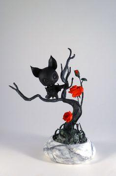 Bat and red roses by gribouilli.deviantart.com on @deviantART