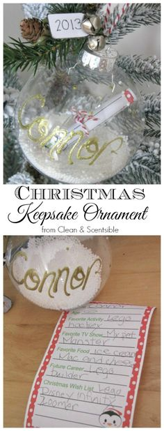 Sweet Christmas keepsake ornament.  Write down some of your child's favorites and roll it up into the ornament.