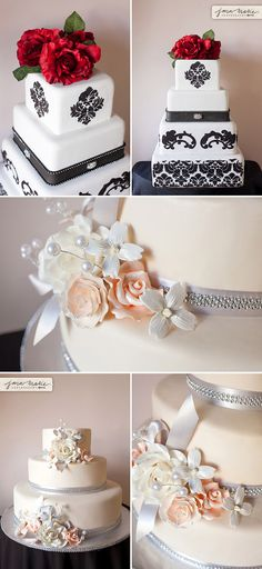 Black and white, vintage cakes, soft coral, classy bakery, Jana Marie Photography