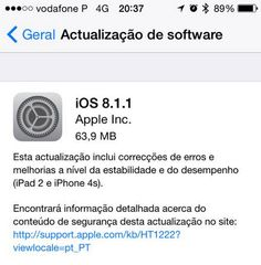 Apple acaba de disponibilizar o iOS 8.1.1 que traz essencialmente melhorias ao nível da performance para iPad 2 e para o iPhone 4S