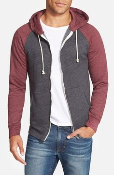 Threads for Thoughts Raglan Hoodie - made of 50% recycled polyester, 38% organic cotton, 12% rayon.