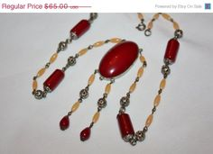 Fall Sale Red Pendant Art Deco Necklace  Vintage by patwatty