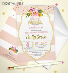 A sweet little pumpkin Printable Baby Shower by AlniPrints on Etsy #baby #shower #invitation #invite #rustic #modern #DIY #gifts #digital #printable #Buho #floral #download #Shabby
