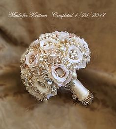 THIS IS A BALANCE LINK ONLY ......... This is for the Balance Payment for the Completed Order for Ms. Deborah Hill - Completed Custom Blush/Ivory Bridal Brooch