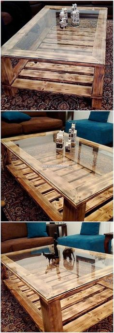 Ingenious DIY Ideas for Reusing Scraped Wood Pallets Now this is what we call a unique pallet glass top table design! This pallet glass top table furniture has been beautifully finished w Diy Pallet Sofa, Wood Pallet Furniture, Western Furniture, Diy Pallet Projects, Pallet Ideas, Wood Pallets, Wood Projects, Table Furniture, Rustic Furniture