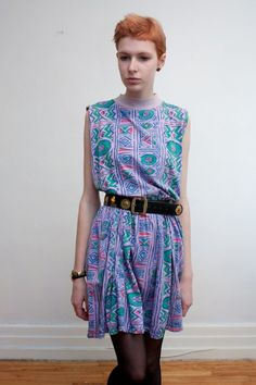 neon tribal printed sleeveless jersey dress