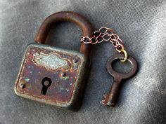 1 french antique Vintage Skeleton Keys ,  old key with locket  black patina. $26.00, via Etsy.