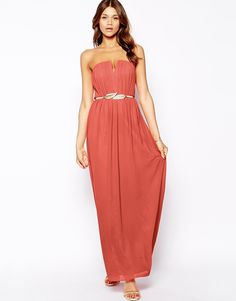 Little Mistress | Little Mistress Bandeau Pleated Maxi Dress with Gold Belt at ASOS
