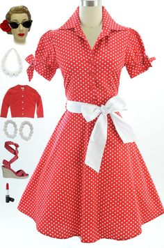50s Style Red Polka Dot Tie Sleeve Full Skirt Rockabilly Pinup Dress with Sash | eBay