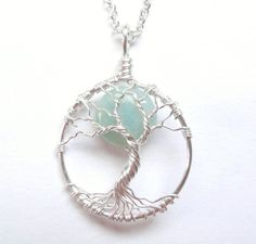 Amazonite Tree of Life Necklace with Pale Blue Gemstone, Solid Silver Wire Tree…
