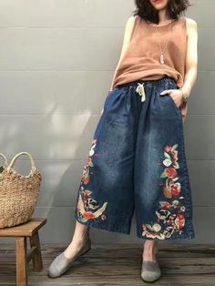 Embroidery loose casual jeans wide-legged pants
