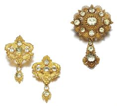 The earrings and brooch for the gold and chrysoberyl parure, circa 1830, demonstrating the repoussé and cannetille work. Click to enlarge.  Source: http://www.sothebys.com/en/auctions/ecatalogue/2010/jewels-l10050/lot.88.html