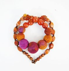 Amber Necklace Terracotta Necklace Brown Necklace Purple Necklace Natural Stone Necklace - You will look gorgeous in this incredibly elegant and