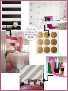 {Colour scheme} Renters Solution to decorating walls My New Room, My Room, Dorm Room, Girls Bedroom, Bedroom Decor, Bedrooms, Renters Solutions, Rental Decorating, Apartment Living