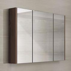 Spiegelkast Driedeurs Noten Fineer - 90 cm 1