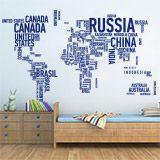 Vinilos Decorativos: Mapa mundi tipográfico 2
