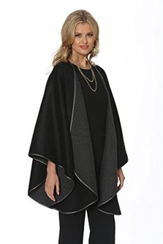 fc3f91f5638 Madison Avenue Mall Black Cashmere Cape For Women Wrap Reversible To Grey  Review