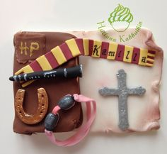 Confirmation all edible Cake topper for Harry Potter fan who likes also horses and swimming and plays clarinet.