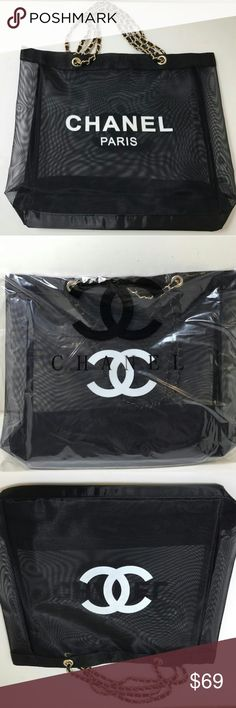 "Brand new Chanel vip gift bag mesh tote bag gold Brand new Chanel vip gift bag mesh tote bag gold chains . size 15"" x 15"" . chain drop 11"". Look at the gold ring inside the bag with Chanel on it. 100% authentic! CHANEL Bags Totes"