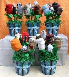 5 Baby Boy Shower Decoration Bouquet by babyblossomco on Etsy