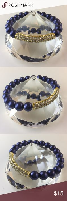 Bracelet 10mm royal blue glass Pearl beads stretch bracelet with gold tone metal crystal bar design. D.Green Designs Jewelry Bracelets