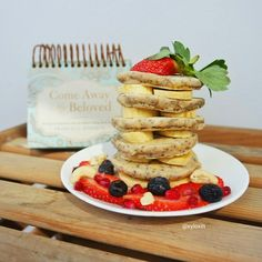 Healthy Eggless Fluffy Green Tea Chia Pancakes I shout Cake, You shout Pancake! Pop over to my blog for this fluffy pancake recipe! :D