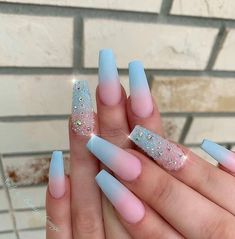 Glitter Nail Art Designs That You Need To Try In Summer - Nail Art Connect - The most beautiful nail models Cute Acrylic Nail Designs, Beautiful Nail Designs, Nail Art Designs, Nails Design, Blue Nails With Design, Turquoise Nail Designs, Bright Nail Designs, Fancy Nails, Cute Nails