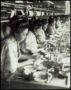 SILK FACTORY GIRLS DRAWING THREAD FROM COCOONS in OLD JAPAN by Okinawa Soba, via Flickr.  Ca.1915-23 silver print photograph by T. ENAMI.