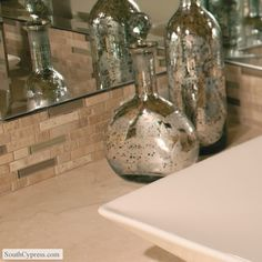 Stone Radiance Mushroom Morning Sun Blend featured on the Linear Glass Mosaics page from South Cypress.