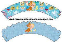 Bandas para cupcake bebé Baby Shower Crafts, Baby Shower Decorations, Baby Shower Printables, Free Printables, Printable Party, Cupcake Wrappers, Christening, Beach Mat, New Baby Products