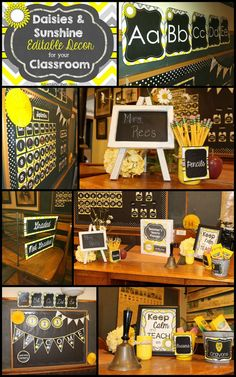 Gray and Yellow Classroom Decor - Appletastic Learning Editable Chalkboard Classroom Decor - Sunshine and Daisies. LOVE the classy cheerfulness of the yellows, grays, and chalkboard of this classroom decor! 3rd Grade Classroom, New Classroom, Classroom Setup, Classroom Design, Classroom Organization, Elementary Classroom Themes, Classroom Color Scheme, Kindergarten Class, Classroom Decor Themes