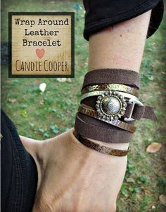 Wrap Around Leather Bracelet featuring TierraCast 20mm Slotted D Ring. Design by Candie Cooper.