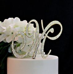Monogram GOLD Wedding Cake Topper decorated with Swarovski Crystals in any letter A B C D E F G H I J K L M N O P Q R S T U V W X Y Z