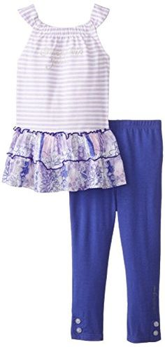 Calvin Klein Baby Girls Tunic with Blue Leggings White 12 Months * Visit the image link more details. Note:It is affiliate link to Amazon.