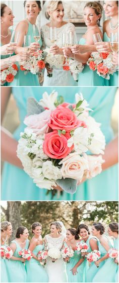 Southern bridal party, aqua bridesmaid dresses, coral floral wedding bouquets, pearl necklaces // Audrey Rose Photography