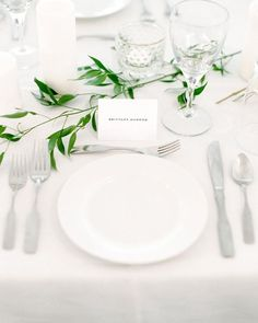 41 Edgy Modern Wedding Ideas You'll Love: simple neutral table setting with greenery branches