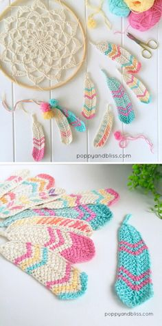 Crochet Stitches Tunisian Tunisian Crochet Feathers Free Crochet Pattern - You will discover how to crochet this beautiful Tunisian crochet feather pattern, as well as a crochet dreamcatcher to dangle your feathers from. Mandala Au Crochet, Crochet Diy, Crochet Amigurumi, Tunisian Crochet, Crochet Crafts, Yarn Crafts, Crochet Stitches, Crochet Projects, Amigurumi Toys