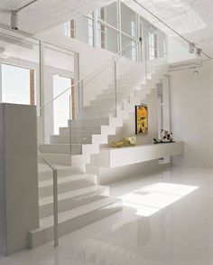 Modern Staircase Design Ideas - Staircases are so usual that you don't give them a doubt. Have a look at best 10 instances of modern staircase that are as magnificent as they are . Home Stairs Design, Interior Stairs, Interior Design Living Room, Interior Architecture, House Design, Interior Ideas, Stair Design, Residential Architecture, Floating Staircase