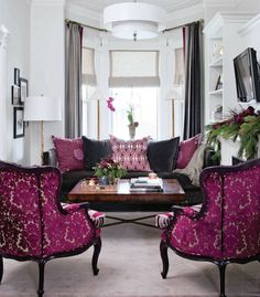 Traditional glamour pink accent chairs livingroom