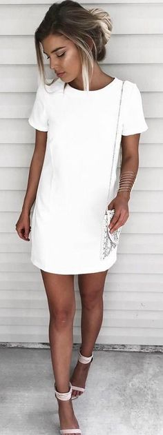 Ad. White T-shirt Dress Summer Outfit