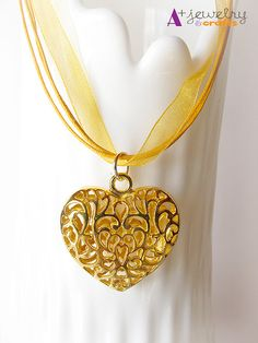Gold hearts golden heart gold color yellow by APlusJewelryCrafts, $7.50