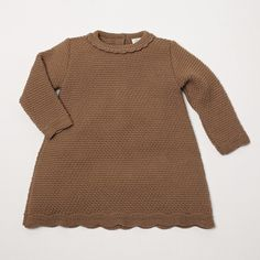 Girl's Knitted Dress in Camel Brown from Pepa and Company - Spanish Clothing for Children - online boutique shop for casual and formalwear