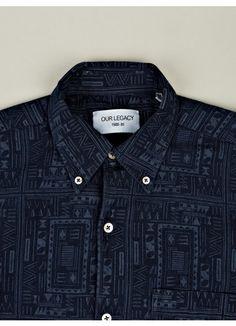 Men's 1950s Ethnic Indigo Shirt